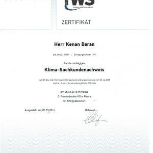 Zertifikat Klima- Sachkundennachweis