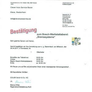 Zertifikat Lehrgang Bosch Bremssysteme