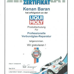 Zertifikat Liqui- Moly Scheibenaustausch